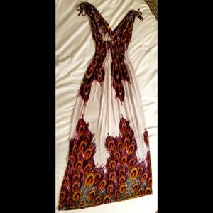Peacock Maxi Floral Summer Dress • Size M
